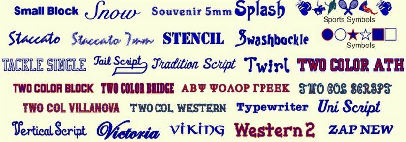 tipos de letra bordada